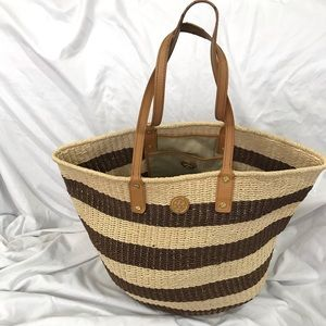Tory Burch Tyler Striped Straw Tote